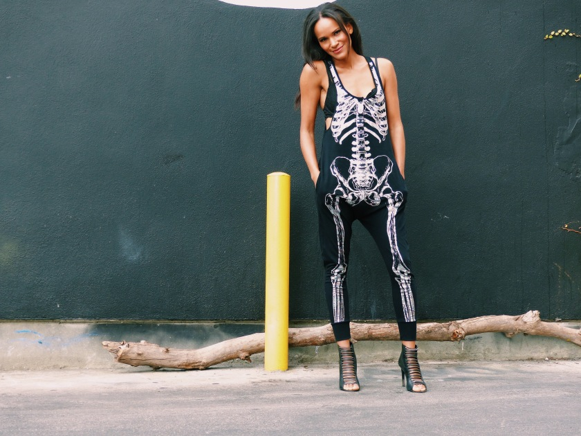 Amanda Luttrell Garrigus wearing a ModCloth black and silver skeleton jumpsuit