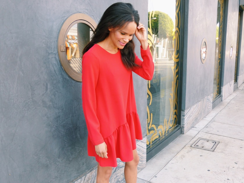 Amanda Garrigus wearing a red Zara romper