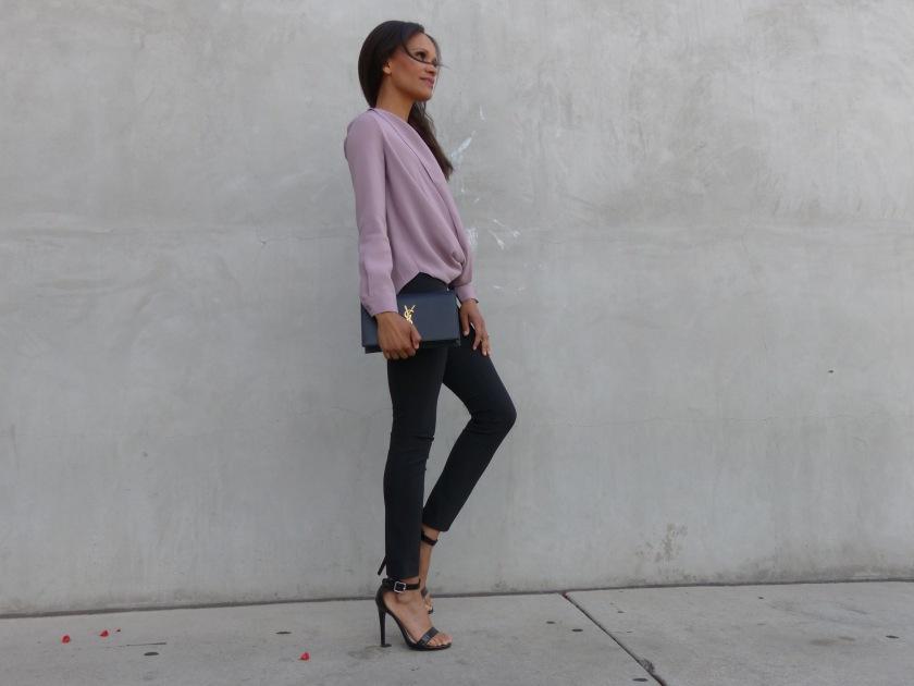 Amanda Garrigus wearing a lavendar TOBI top