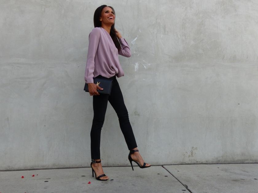 Amanda Luttrell Garrigus wearing a lavendar TOBI top