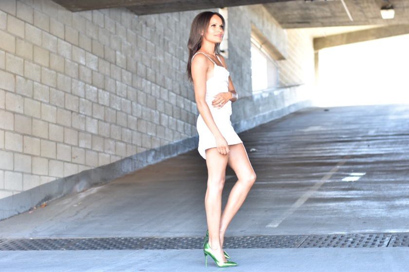 Amanda Garrigus in a DIY white dress and Aldo Shoes